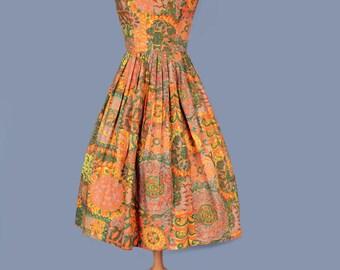 1960's Gold Print Full Skirt Hawaiian Vintage Sun Dress - medium
