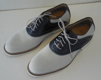 NOS Creme and Blue Oxford Shoes by G H Bass & Co Sz 9M Swing Rockabilly Hipster