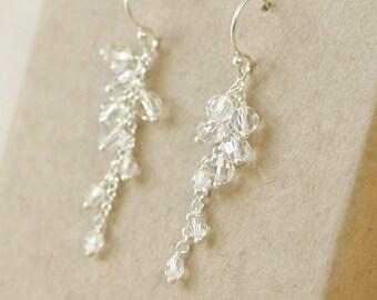 Crystal bridal earrings Swarovski, crystal earrings, cluster earrings, wedding earrings - Sofia