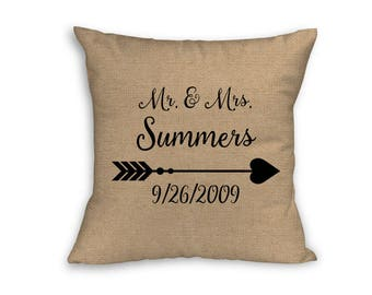 """Mr. & Mrs. Wedding Date Pillow Cover, Pillow Cover, Anniversary Pillow Cover, 18"""" x 18"""" Zip Pillow Cover"""