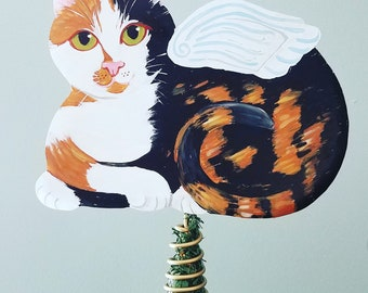 Cat Tree Topper - Calico Cat Angel Tree Topper - Cat Christmas Tree Topper - Cat Memorial - Personalized Cat - Cat Decor