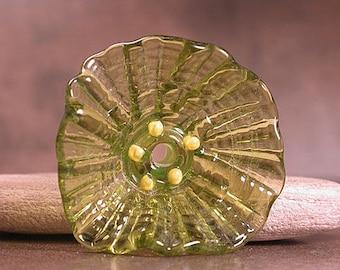 Sculptural Glass Flower Focal Bead Lampwork Flowers, Lampwork Flower Bead, Olive Green, Divine Spark Designs, SRA