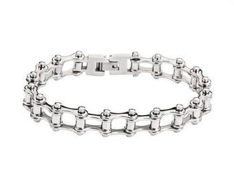 All Stainless Steel  Stainless Steel 1/2 inch Wide Motorcycle Chain Bracelet