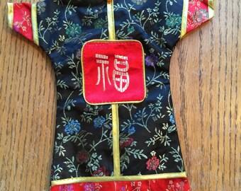 Vintage 11 Inch Asian Silk Doll Dress Bottle Cover