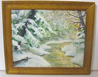 A Sunny Winter Day, an original oil painting by M.E. Schmidt in 1/12 scale