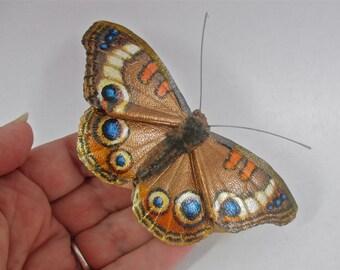Leather Buckeye butterfly brooch