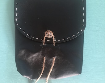 "Belt Pouch 6 x 6"" Black Brass Trim Possibilities Hip Pouch Hand Stitching"