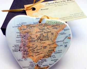 Spain  Map Christmas Ornament, Your Special Place in the Heart / HONEYMOON Gift / Wedding Map Gift / Travel Tree Ornament /