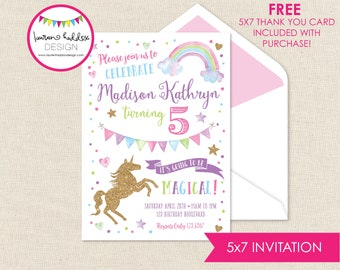 Unicorn Birthday, Unicorn Rainbow Birthday Invitation, Unicorn Rainbow Invitations, Unicorn Birthday Decorations, Lauren Haddox Designs