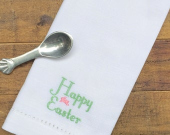 Happy Easter Bunny Embroidered Cloth Napkins /Set of 4/ Spring napkins, Custom Easter, Easter napkins, Happy Easter, Easter cloth napkins