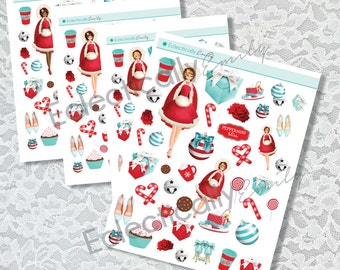 Santa Baby Decoration Stickers | Planner Stickers | Stickers for Erin Condren Life Planner | Glam Stickers | Winter Planner Stickers