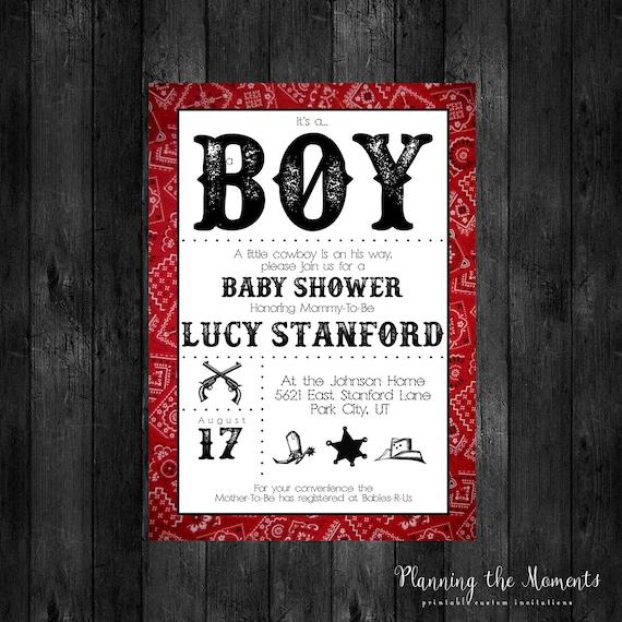 Vaquero bebé ducha invitación invitación para imprimir