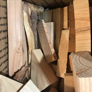 Box of scrap wood for projects, crafts, etc