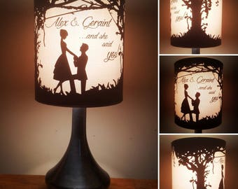 Wedding or engagement bedside/reading lamp. Can be fully personalised. The perfect wedding gift, engagement gift