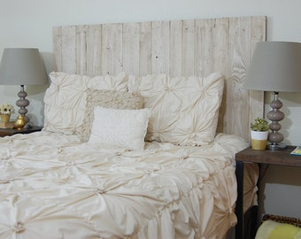 Whitewash Weathered Look - Full Hanger Headboard with Vertical Boards. Mounts on wall. Adjust height to your convenience. Easy installation.