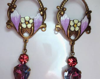 Art Deco 1920s vintage style earrings Edwardian earrings Art Nouveau opulent lilac purple vintage crystal drop