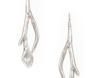 long stem and leaf silver earrings