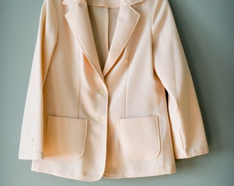 Vintage Blazer, 70s Clothing, 70s Clothes, Cream Blazer, Small, Minimalist, Classic, Preppy, Vintage Clothing, Vintage Clothes, Retro, White