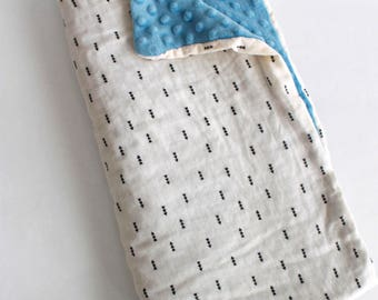 Cream Arrows and Blue Minky Baby Blanket