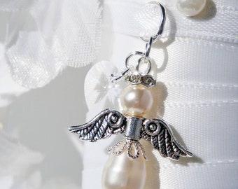 Wedding Bouquet Charm, White Swarovski Crystal and Pearl Angel Bouquet Charm, Bridal Bouquet Charm
