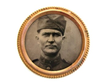 Circa 1914 Tintype Photo Portrait Pin - Unknown Soldier  In Uniform Coat and Overseas Side Cap