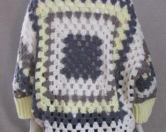 Striped Granny Square Cocoon Shrug - Crochet