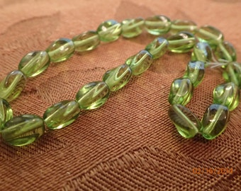 Vintage 1960's Apple Green 4 sided Egg shaped Beads/West German Glass/Strand of 25/PJsBeadedEagle