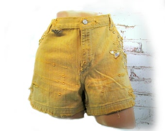 Tattered shorts , grunge shorts, denim shorts, dyed shorts, bleached shorts, size 16,  # 1