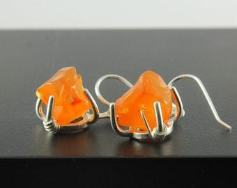 Rough Carnelian Earrings Sterling Silver - Orange Earrings - Rough Gemstone Jewelry