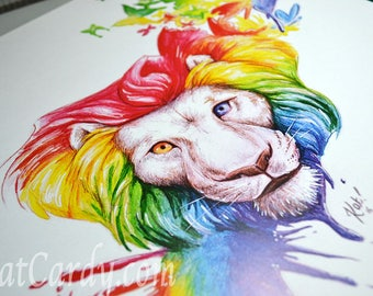 Transition A3 Print, Signed & Numbered - Rainbow Lion paint butterflies