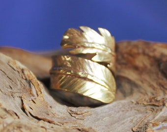Brass Feather Ring, Feather Ring, Adjustable Ring, Brass Adjustable Ring, Feather Adjustable Ring, Ring, Yellow Brass Ring
