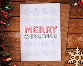 Merry Christmas Typography Christmas Card Snowflakes A6
