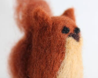 Felted Squirrel; Handmade Needle Felted Squirrel; Woodland Squirrel
