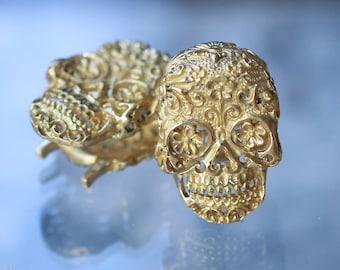 Brass ear weights sugar skull