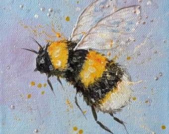 Bumblebee original small painting on canvas