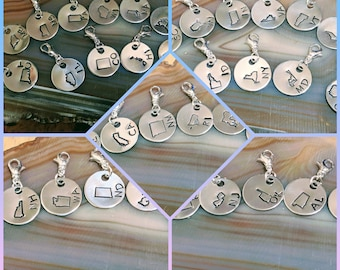 United States of America charms zipper pulls pendants hand stamped and polished all 50 states available