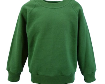Forest Green Sweatshirt, cotton/polyester, raglan sleeves, soft brushed inside for warmth and comfort.  Made in England. 6 childs sizes. W10