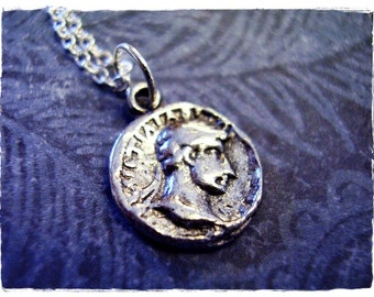Silver Ancient Roman Coin Necklace - Antique Pewter Roman Coin Charm on a Delicate Silver Plated Cable Chain or Charm Only
