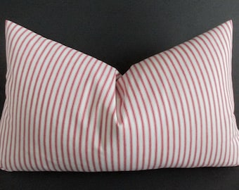 Pillow Cover Lumbar Woven Red & White Ticking Stripes