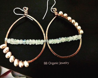 Copper hammered hoops with dancing pearls and moon stone beads  sterling silver hooks