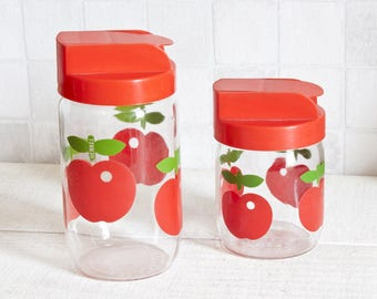 Set of 2 Henkel jars, red apple decor - Red kitchen retro decor box - Vintage 1970s seventies