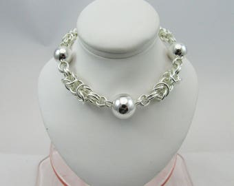 Chainmaille byzantine & beads bracelet