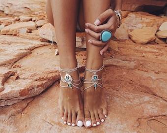 Lulu AZ Boho Silver Tone Layered Chain, Pendant & Turquoise Ankle Bracelet ABS04