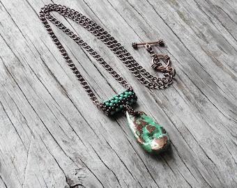 Necklace - Splash Copper Pendant - Copper Chain - Statement Necklace - BOHO