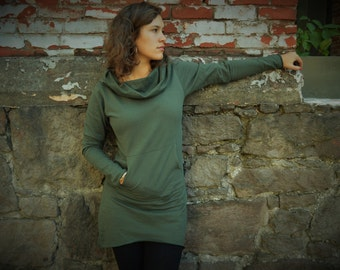 Nomad Dress- hooded cowl dress made from 100% organic cotton fleece