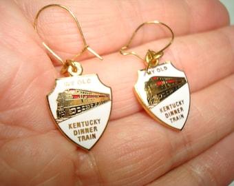 Vintage My Old Kentucky Dinner Train Enameled Train Earrings.