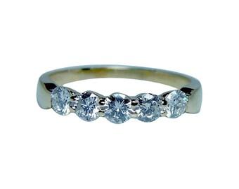 Vintage 18K Gold Diamond Anniversary 5 stone Ring Band Estate