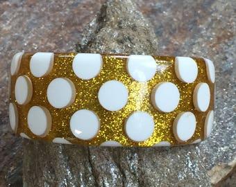 Polka Dot Bangle Chunky Glitter Bracelet Large Polka Dot Bracelet Chunky Summer Bracelet Gold Glitter Bangle