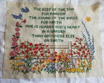 Vintage Completed Needlepoint Sampler, Nearer God's Heart In A Garden