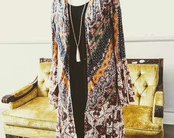 Boho long kimono duster with bell sleeves